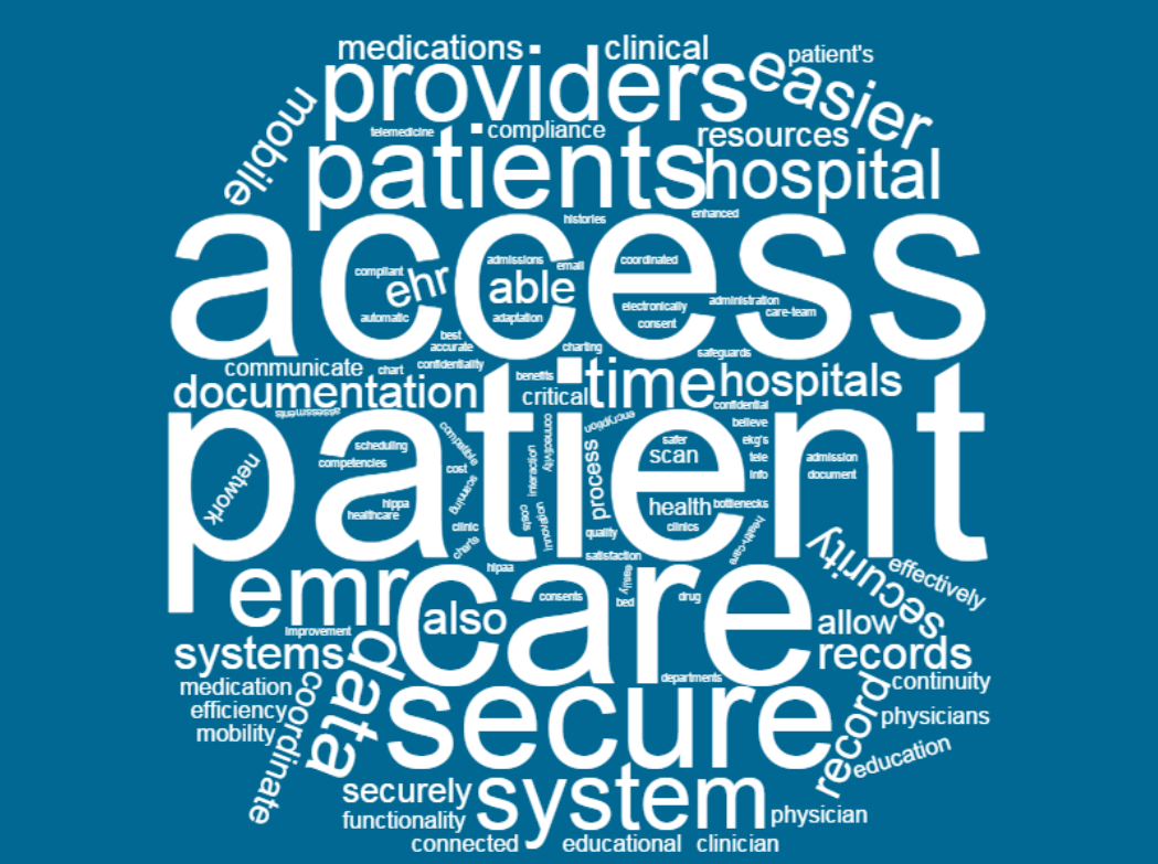 HIMSS Analytics 2017 healthcare mobile solution study word cloud